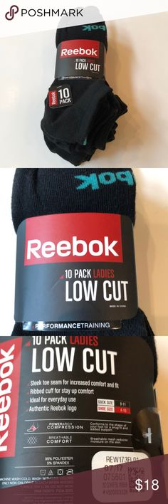 New 10 Pack Reebok Ladies Low Cut Socks Condition: NWT Size: Sock 9-11. Shoe 4-10 Color:  Black Material:  95% Polyester 5% Spandex  Details:  Low Cut, Performance Training, Sleek toe seam for increased comfort and fit, Ribbed cuff for stay up comfort Reebok Accessories Hosiery & Socks