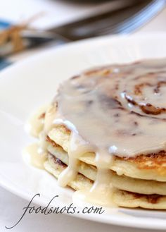 Cinnamon Roll Pancakes by Food Snots - because there's no Cinnabon around here, dang it!