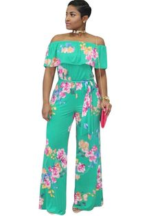LD-women clothes LD Womens Summer Off Shouder Ruffled Printed Belted Beach Wide Leg Romper Jumpsuits Jumpsuit Outfit, Floral Jumpsuit, White Jumpsuit, Printed Maxi Skirts, Pleated Mini Skirt, Off Shoulder Jumpsuit, Off Shoulder Fashion, Wide Leg Pants, Wide Legs