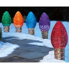 5 Piece Oversized LED Glitter String Light Bulb Set
