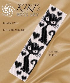 Bead loom pattern - Black cats LOOM bracelet pattern in PDF - instant download par KikisBeadArts sur Etsy https://www.etsy.com/fr/listing/290711745/bead-loom-pattern-black-cats-loom
