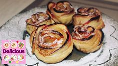 Homemade Apple Roses Recipe - How to make apple roses - Easy apple roses. Apple Rose Pastry, Apple Roses, Apple Cupcakes, Baked Apples, Cooking Food, Cupcake Recipes, Homemade, Cookies, Baking
