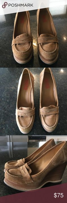Michael Kors Wedge Loafers Dank Tan Suede! So so so cute! Just too big for me😕 Sized 8.5, but feels more like a 9 to me??? KORS Michael Kors Shoes Wedges