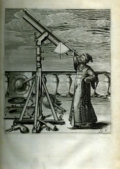 Hevelii selenographia, Hevelius with his telescope, 1647