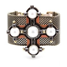 Lanvin Crystal Embellished Cross Bracelet found on Polyvore