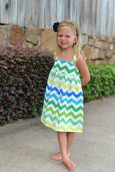 Chevron Stripe Girls Summer Dress, Toddler Girls Boutique Dress, Preppy, Party Dress, Chic Girls Dress, Chevron Dress, Blue, Green, Aqua    Palm Valley Kids