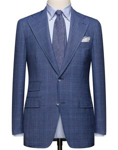 Medium Blue Tropical Glencheck. Cloth Weight: 240 gram Composition: 100% Wool
