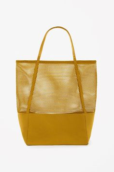 COS   Canvas and mesh bag Cos Bags, Shopping Totes, Baggage, Mustard Yellow 25ad6cae6a
