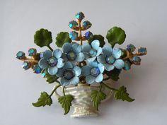 Vintage Blue Enamel, Rhinestones Flowers Basket Brooch, Pin.