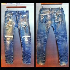 A.P.C.'s that I have worked in and gotten repaired several times over the past 3 years. #RawDenim #APC #Selvedge