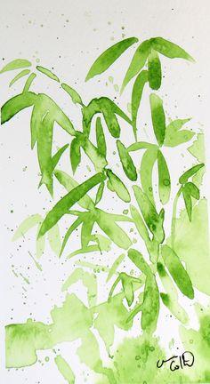 Bambou, aquarelle par Annie Collette Marianne, Annie, Plant Leaves, Oriental, Images, Plants, Bamboo, Watercolor Painting, Searching