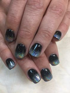 Black and rainbow chrome ombré SNS dip nails
