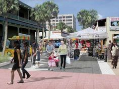 """Provided by AECOM<br />This is how First Street North in Jacksonville Beach would appear if it had the """"festival street"""" design features and was closed to traffic for a downtown festival."""