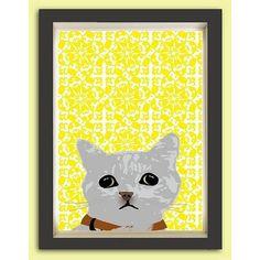 Indira Albert Cat Peeping Fine Art Print ($35) ❤ liked on Polyvore featuring home, home decor, wall art, gray home decor, cat wall art, cat home decor, grey wall art and grey home decor