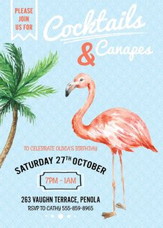 Flamingo Invitation Cocktail Party by WestminsterPaperCo on Etsy