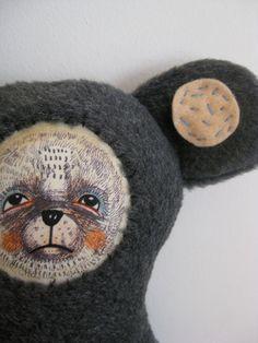Cloth Doll, Fabric Art Doll soft Sculpture, Bear