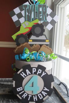 Monster Truck Centerpiece Moster Truck Gift Box by RockingPaper
