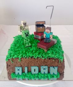 Minecraft-themed Chocolate Cake