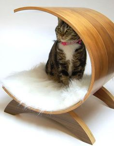 Pod Cat Condo: If your best feline friend likes to relax and recline with you after a long day at work, why shouldn't they have their own stylish, modern lounger? This luxury cat bed features solid wood legs and a removable, washable pad. Its dimensions are approximately 15 inches inside diameter by 20 inches long. Six different wood finishes are available
