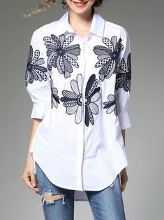 Casual Shirt Collar Floral-embroidered Blouse