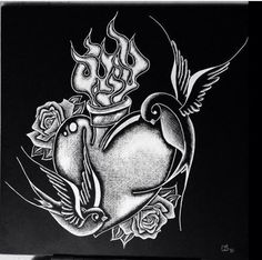 8x8 scratchboard commissioned. Sparrows and sacred heart. 2016. #scratchboard #scratchboardart #scratchboardartist #ampersand #roses #tattoocomposition #scratchart #art #artwork #custom #blackandwhite #crosshatch #artistsofpinterest #sketch #layers #draw #drawing #create #creative #illustrate #sparrows #sacredheart #flame