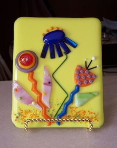 Fused Glass Art Picture Happy Cheerful Flowers. $50.00, via Etsy.