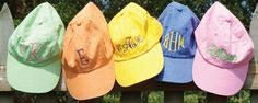 monogrammed baseball caps! # beach time & fun time  Monograms are fabulous on everything!