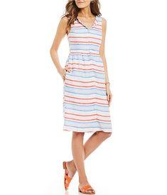 fc1a1b36512 Joules Lisia Striped Sleeveless Linen Midi Dress