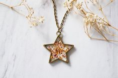 Real Pressed Flower and Resin Star Necklace in Pink by AnnAndJoy