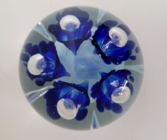 Joe Zimmerman Paperweight 1980 Dated Etched Signed Marked Z Trumpet Flowers
