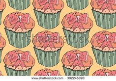 Cute  vector seamless pattern.Cupcake with pink bow on orange background.Hand painted illustration. Doodle design elements for banner, flyer, business, card, poster. - stock vector