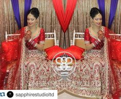 Our stunning bride Kiran looking absolutely amazing on her wedding day! #Repost @sapphirestudioltd with @repostapp.  A full shot of Kiran's wedding look. Kiran's classic wedding look was on point with her stunning red wedding lengha from @poojasboutique. We went for a high detailed traditional bun so her duppatta would drape effortlessly. We used champagnes golds and brown tones for her eyes and incorporated another traditional pop by using red lips to match her red lengha. We will also post…
