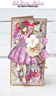"""""""Audrey was the first doll I ever made with Julie Nutting stamps, so she is one…"""