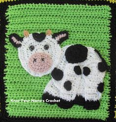 Crochet Granny Squares Blanket Farm Blanket Crochet pattern by Teri Heathcote Crochet Cow, Manta Crochet, Crochet Motif, Crochet Yarn, Crochet Granny, Afghan Patterns, Crochet Blanket Patterns, Knitting Patterns, Crochet Blankets