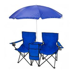 Double Folding Camp Chair with Umbrella & Table Cooler at 51% Savings off Retail!
