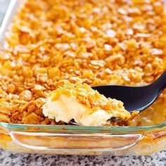 Small Batch Funeral Potatoes - AKA cheesy potato casserole with corn flakes, party potatoes, or potluck potatoes - scaled down to make a great side dish. Will use cream of mushroom soup Cheesy Potato Casserole, Loaded Potato Soup, Cheesy Potatoes, Casserole Dishes, Casserole Recipes, Baked Potatoes, Cowboy Casserole, Taco Casserole, Small Potatoes Recipe