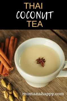Thai Coconut Tea – all you need is a cozy fire and a good book to go with this delicious tea and you'll be a happy person! Coconut milk takes this tea to a different level. Thai Coconut Tea – all you need is a cozy fire and a good book to go […] Hot Tea Recipes, Coffee Recipes, Dessert Recipes, Recipes With Milk, Drink Recipes, Coconut Tea, Thai Coconut, Coconut Drinks, Tea Time