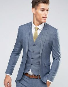 ASOS | ASOS WEDDING Super Skinny Suit Jacket in Navy Dogstooth