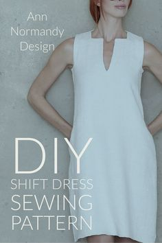 Shift Dress PDF sewing pattern. A-line dress with pockets, cut just above the knee. Square and v-neck. Designed with flat felled seams to neatly encase raw seam edges and give weight and stability to the garment for the perfect drape. #sewingpatterns #sewingprojects #dresssewingpattern #sewingpatternsforwomen #diyfashion (scheduled via http://www.tailwindapp.com?utm_source=pinterest&utm_medium=twpin)