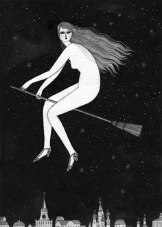 "margarita - yelena bryksenkova //  ""a magical scene from mikhail bulgakov's novel ""the master and margarita"": a naked and liberated margarita soars on a broom through the night sky, above the twinkling lights of 1930s moscow."""