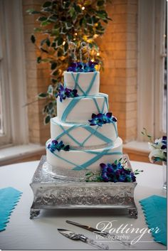Wedding Cake Purple Blue Beautiful Topper Modern