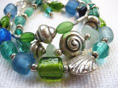 Coastal Style:  3 stacked Thai silver and glass bracelets.  #coastal #jewelry  #stackable bracelets