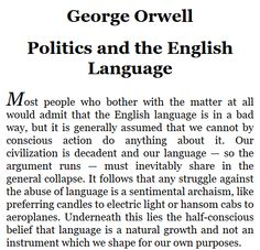 George orwell essay english language