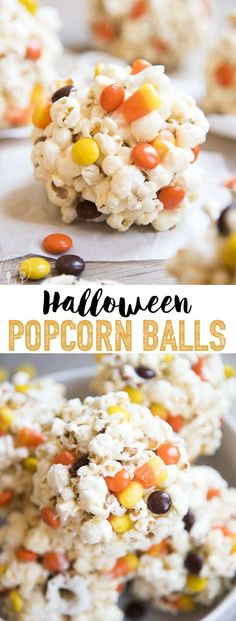 Halloween Popcorn Balls Halloween Popcorn Balls are delicious gooey marshmallow popcorn balls stuffed full of your favorite Halloween candies, perfect for a sweet and salty, crunchy treat! I've gone a bit overboard making Halloween treats the last. Gourmet Popcorn, Best Popcorn, Homemade Popcorn, Popcorn Recipes, Popcorn Snacks, Party Snacks, Candy Recipes, Marshmallow Popcorn, Candy Popcorn
