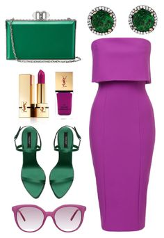 """Chic Color Combo"" by perichaze ❤ liked on Polyvore featuring Judith Leiber, Gucci and Yves Saint Laurent"