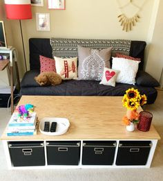 DIY Renters Decor Ideas - Ikea Kallax Coffee Table DIY - Cool DIY Projects for Those Renting Aparments, Condos or Dorm Rooms - Easy Temporary Wall Art, Contact Paper, Washi Tape and Shelves to Make at Home http://diyjoy.com/diy-decor-ideas-for-renters