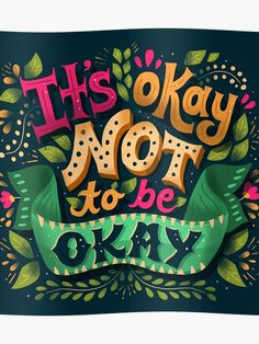 Hand Lettering by Risa Rodil It's okay not to be okay / Hand Lettering / Lettering / iPad Lettering / Procreate Typography Quotes, Typography Letters, Disney Typography, Lettering Styles, Lettering Design, Unicorn Food, Hamilton Wallpaper, Its Okay Quotes, Zeina