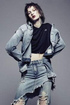 R13's cotton denim jacket and jeans with skirt overlay and Champion's polyester hoodie. Anndra Neen earring. Photo by Jerome Corpuz
