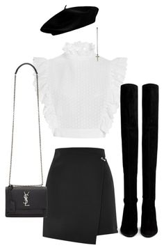 """Untitled #1893"" by emmastrouse ❤ liked on Polyvore featuring Philosophy di Lorenzo Serafini, Topshop, Stuart Weitzman and Yves Saint Laurent"