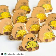 #Repost adorable new pins by @robotdancebattle its a .. a taco... beaver... >.> ... <.<.... *cough* 😳😄 ・・・ Taco beaver pins are here! Along with the new terrarium pin! Get them from my gift shop link in profile or on my etsy! Yay! Merry Christmas!